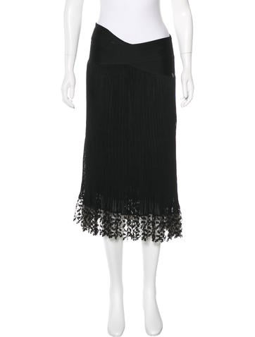 Chanel Rib Knit Midi Skirt None