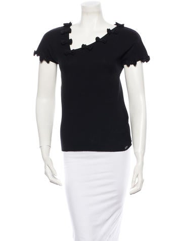 Chanel Bow-Accented Asymmetrical Top None