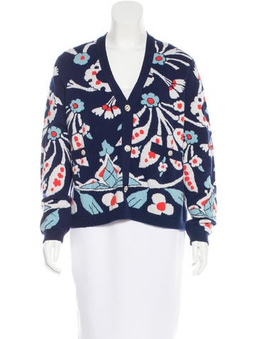 Chanel Cashmere Floral Cardigan None