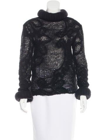 Chanel Open-Knit Turtleneck Sweater None