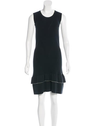 Chanel Rib Knit Flounce Hem Dress None