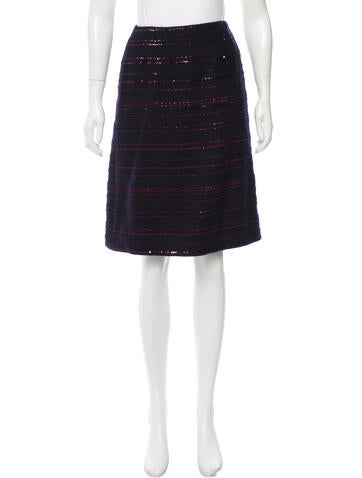 Chanel Sequin-Embellished Wool Skirt None