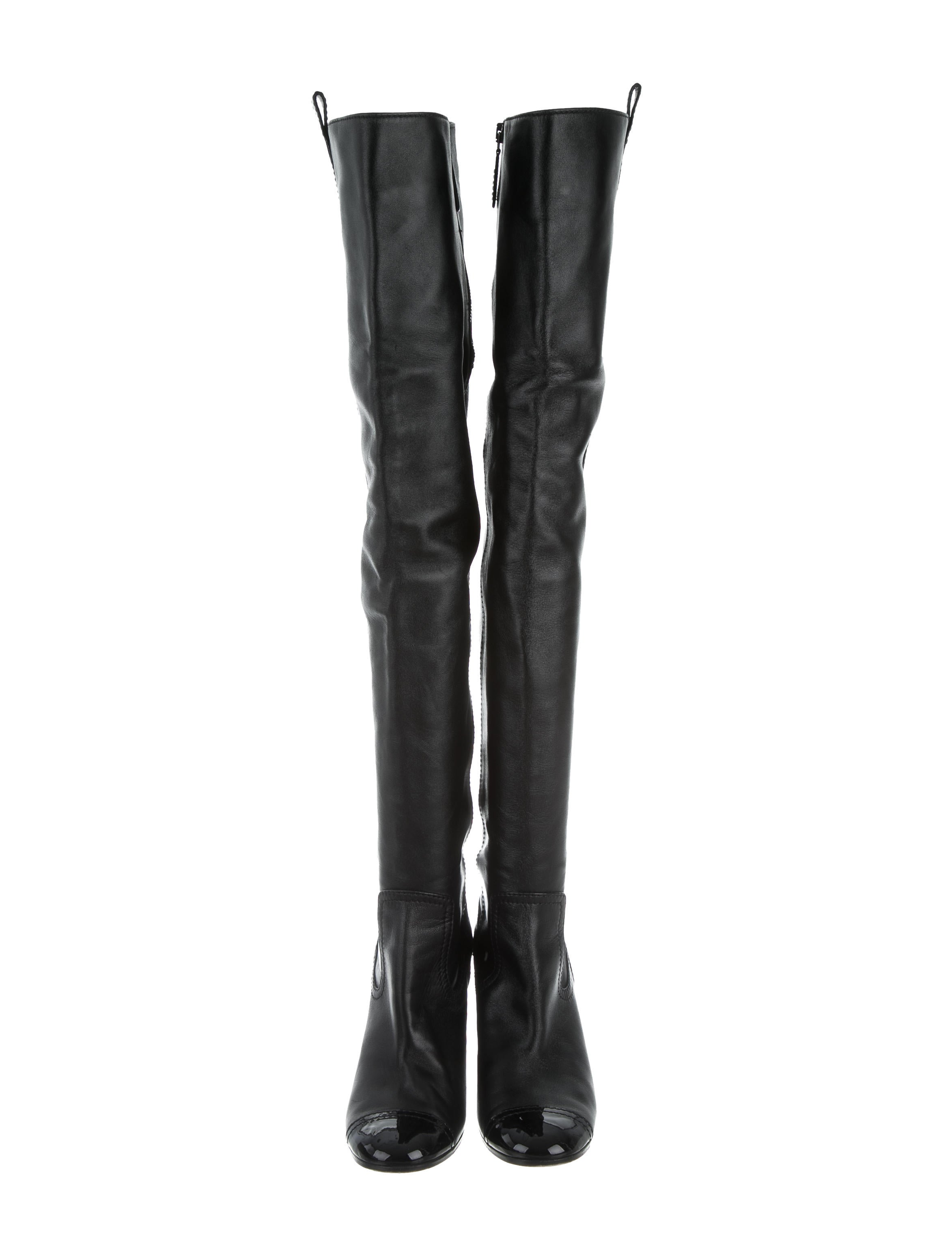 chanel cap toe thigh high boots shoes cha141439 the