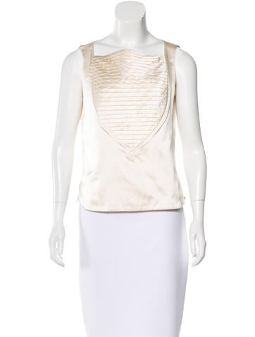 Chanel Silk Pleated Top None
