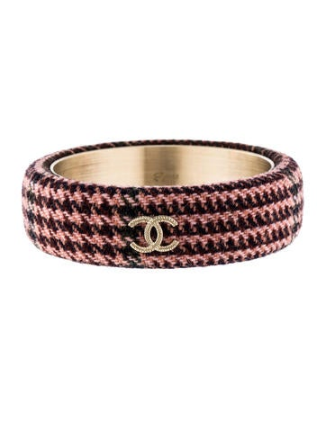 Chanel CC Tweed Bangle Bracelet