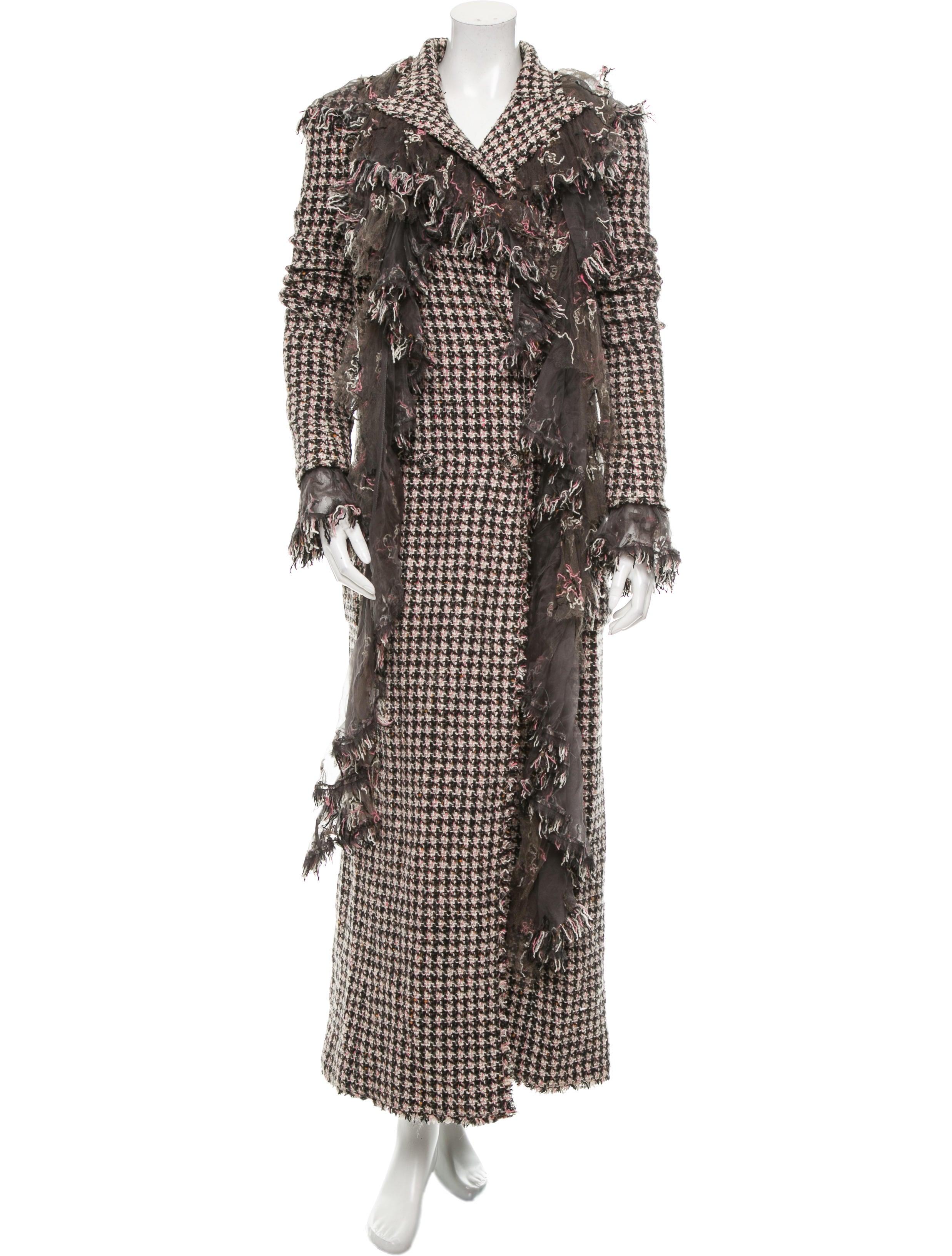 Chanel Wool Tweed Coat Clothing Cha142258 The Realreal