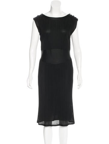 Chanel Rib Knit Sleeveless Dress None