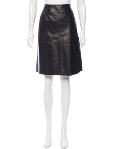 Chanel Pleated Leather Skirt