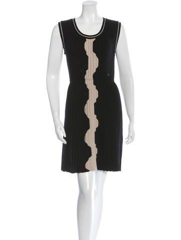 Chanel Rib Knit Wool Dress None