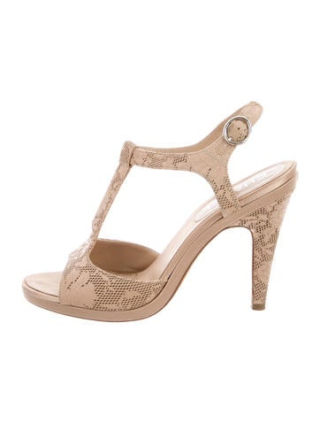 Chanel Perforated T-Strap Sandals