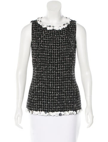 Chanel Embellished Tweed Top