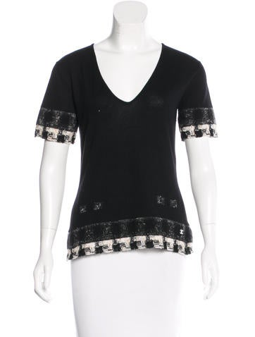 Chanel Tweed-Trimmed Cashmere Top None