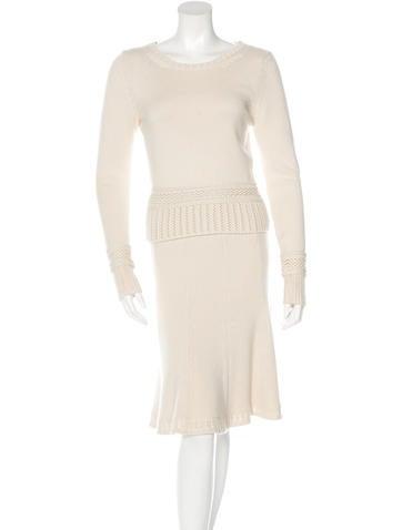 Chanel Silk & Cashmere Blend Skirt Set None