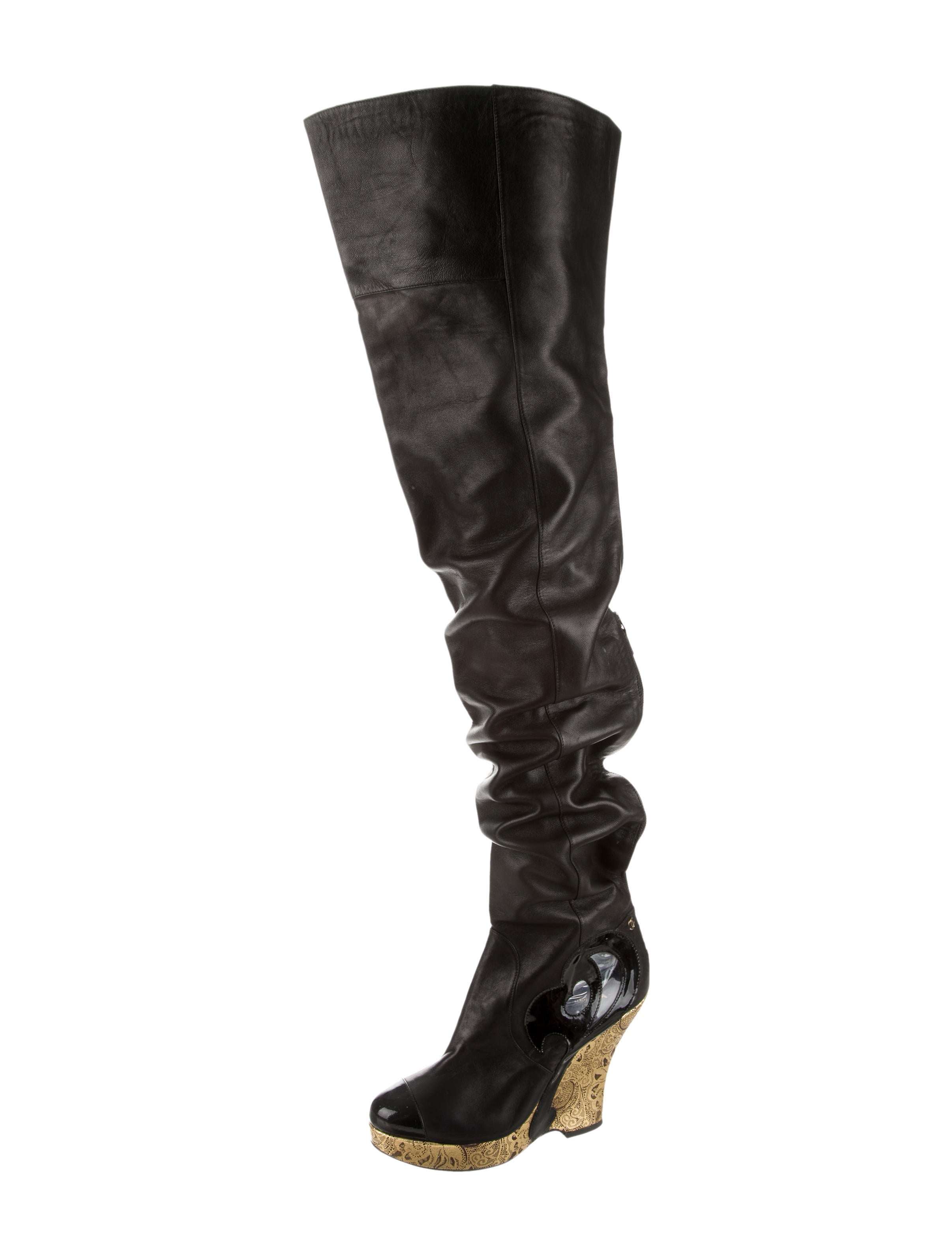 chanel the knee thigh high boots shoes cha143457