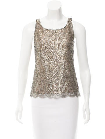 Chanel Metallic Lace Top None