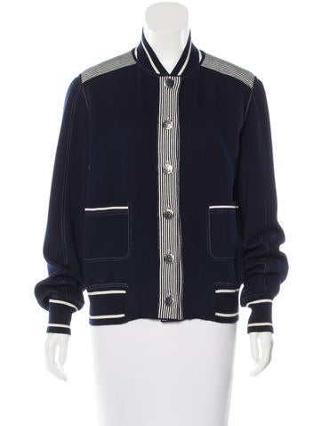 Chanel Striped Bomber Cardigan None