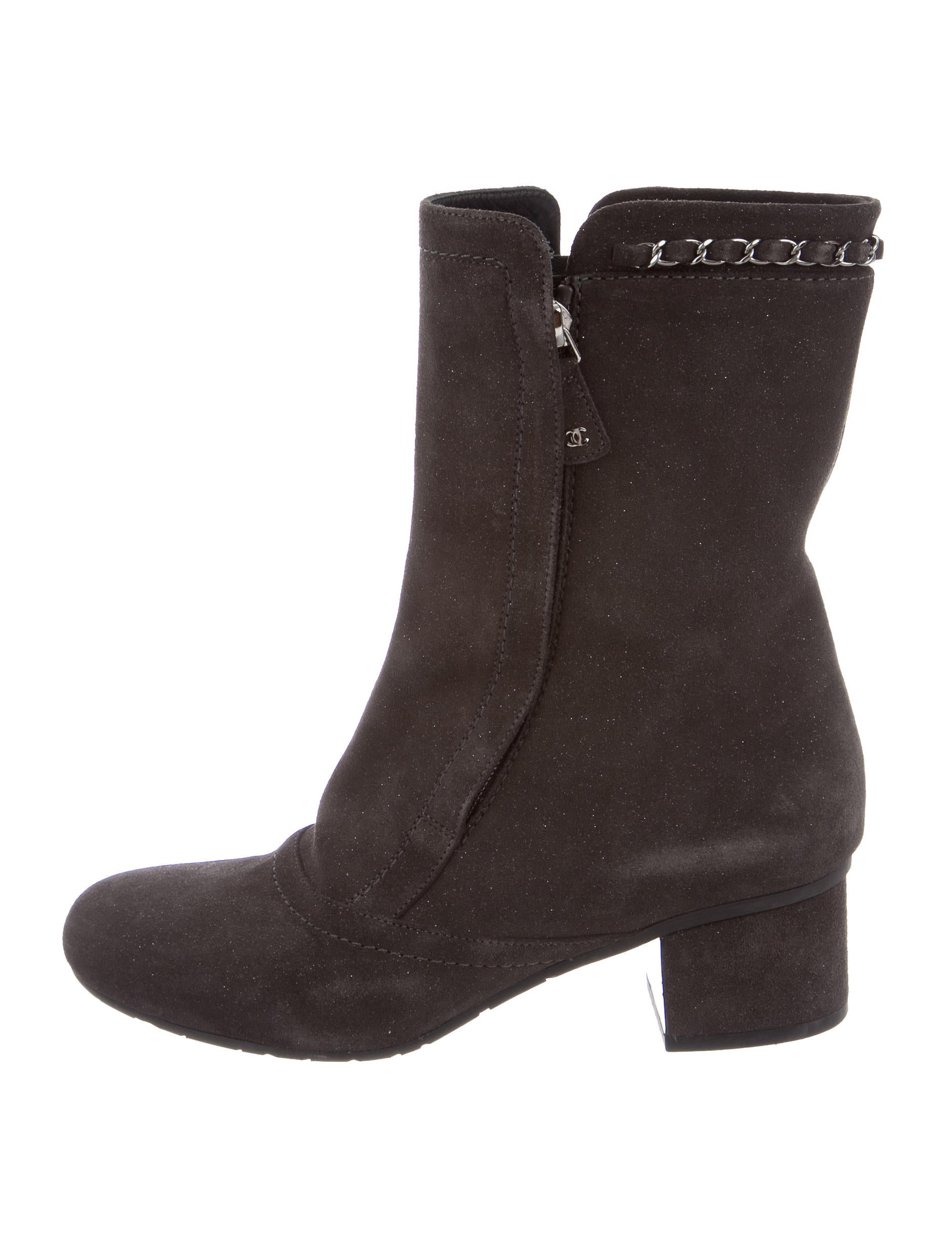 chanel suede mid calf boots shoes cha143680 the realreal
