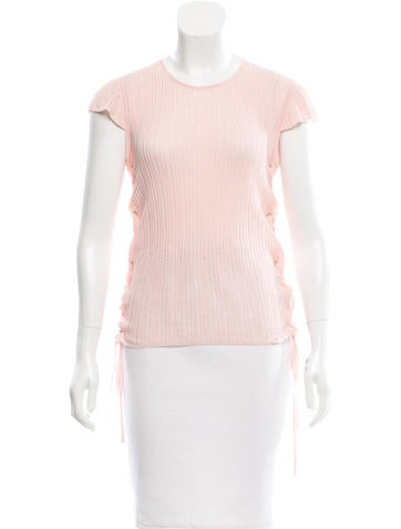 Chanel Lace-Up Rib Knit Top None