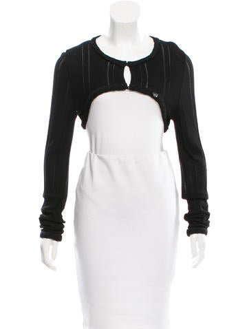 Chanel Cropped Knit Cardigan None