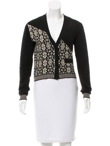 Chanel Cashmere Intarsia Cardigan None
