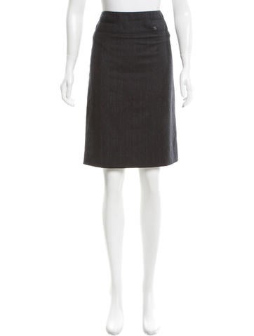Chanel Wool & Cashmere-Blend Skirt None
