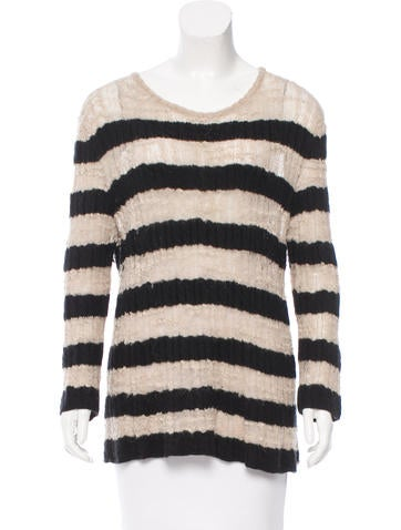 Chanel Striped Cashmere & Alpaca-Blend Sweater None