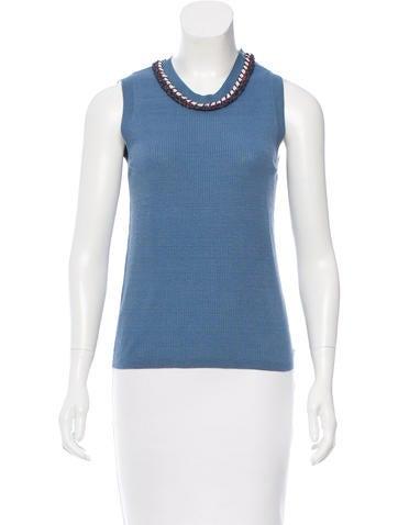Chanel Linen Rib Knit Top None