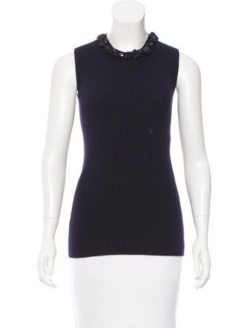 Chanel Cashmere Rib Knit Top None