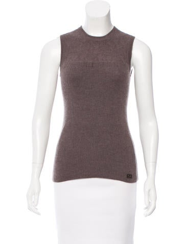 Chanel Sleeveless Cashmere Top None