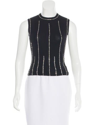Chanel Crystal-Embellished Cashmere Top None