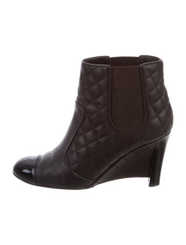 chanel quilted ankle boots shoes cha144893 the realreal