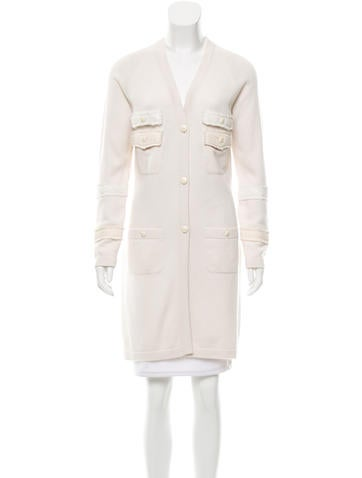 Chanel Cashmere Long-Line Cardigan None