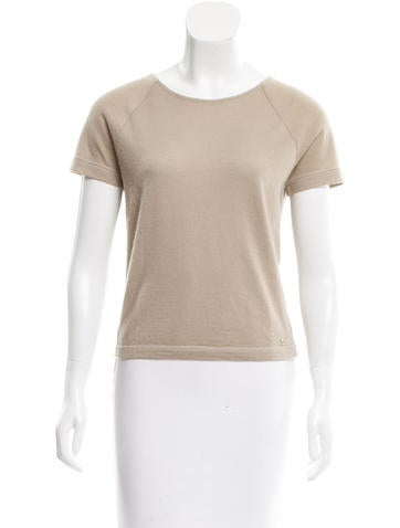 Chanel Cashmere Scoop Neck T-Shirt None