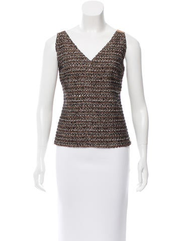 Chanel Leather-Accented Tweed Top None