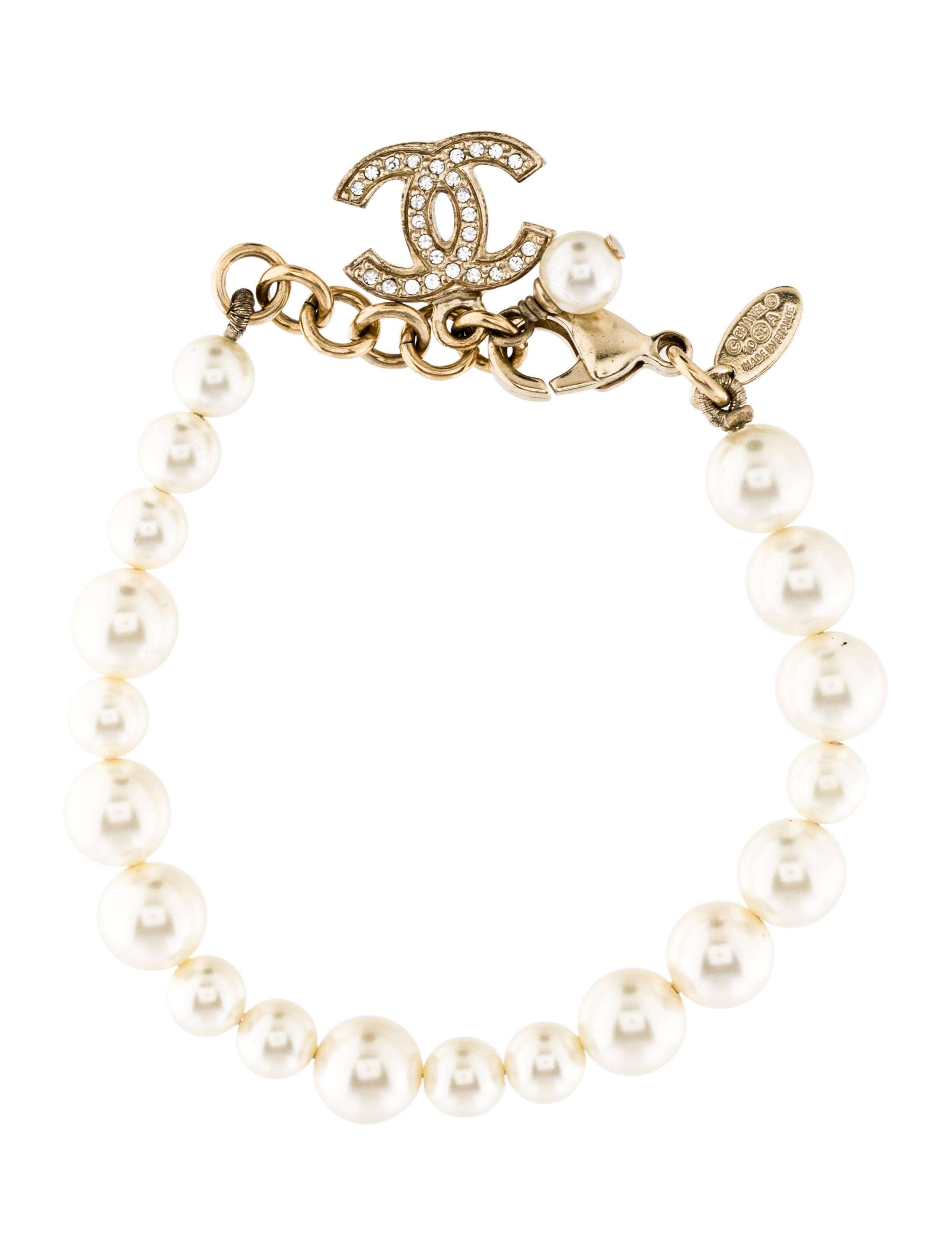 Crystal Cc Faux Pearl Bracelet