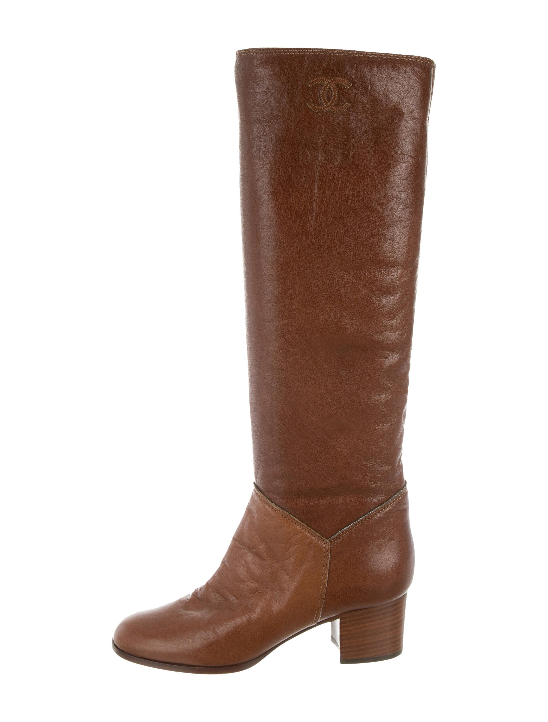 chanel leather knee high boots shoes cha146557 the