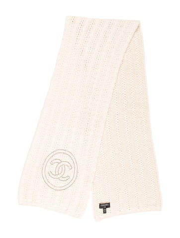 Chanel Embellished Cashmere Knit Scarf None