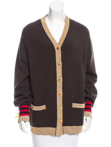 Chanel Metallic-Trimmed Cashmere Cardigan None