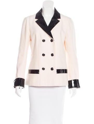 2015 Leather-Trimmed Wool Blazer
