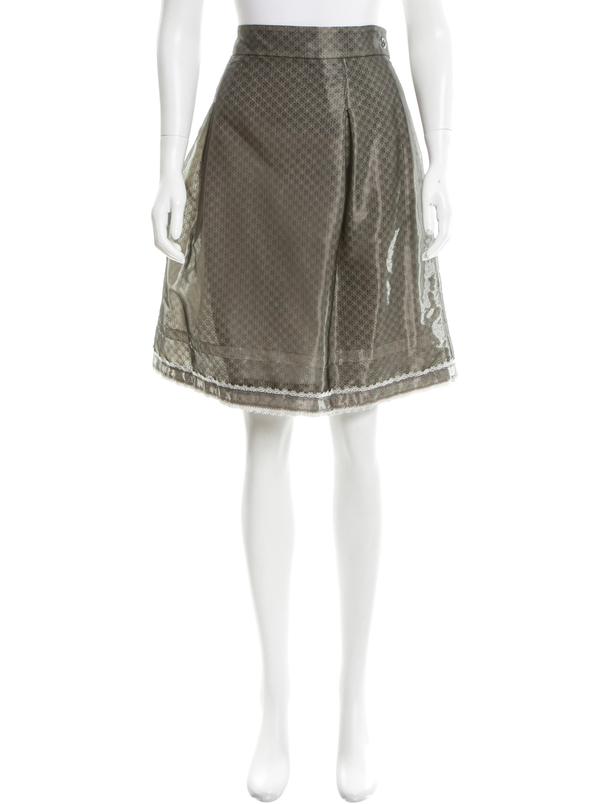 chanel lace trimmed a line skirt clothing cha147276