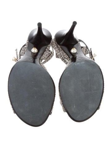 Tweed Ruffle Sandals