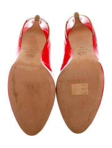 Patent Leather Peep-Toe Pumps