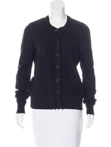 Chanel Ruffled Wool Cardigan None