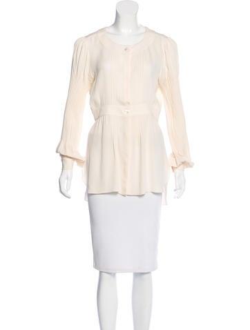 Chanel Silk Pleated Top None