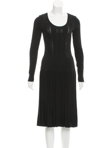 Chanel Rib Knit Long Sleeve Dress None