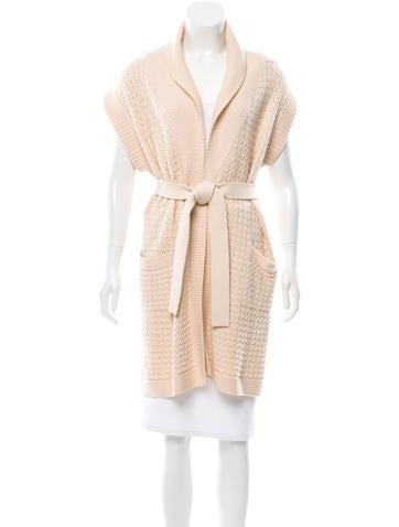 Chanel Cashmere Tie-Accented Cardigan None
