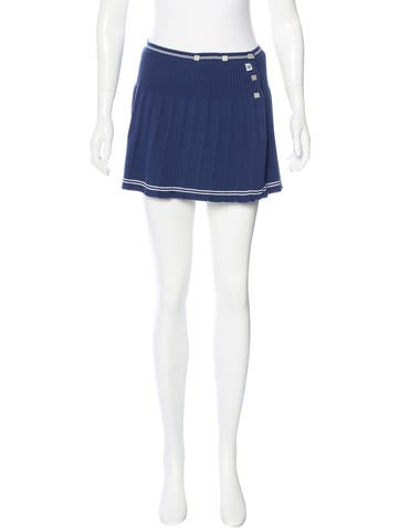 Chanel Pleated Knit Skirt None