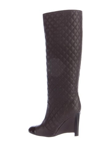 chanel quilted cap toe wedge boots shoes cha148325