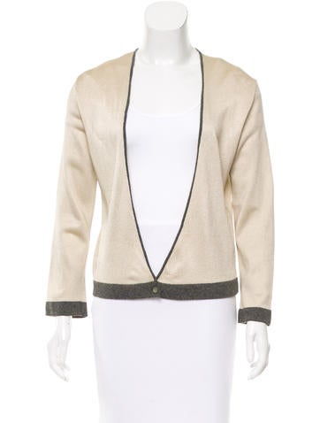 Chanel Metallic Single-Button Cardigan None