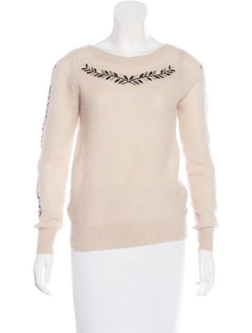 Chanel Embroidered Mohair-Blend Sweater None